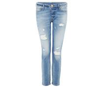 LIV Jeans Straight Leg blue denim bleached destroyed
