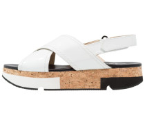 MOAY - Plateausandalette - honey/blanco