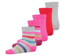 5 PACK Socken pink/grey melange