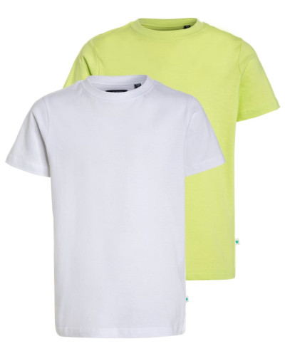 2 PACK - T-Shirt basic - weiß/apfel