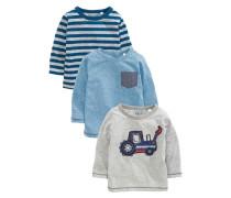 3 PACK Langarmshirt blue