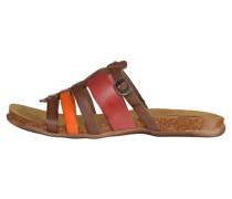 Pantolette flach - marron rouge orange