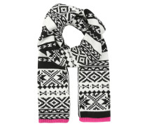 Schal black printed fairisle