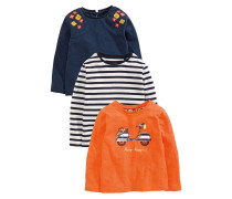 3 PACK Langarmshirt orange/blue