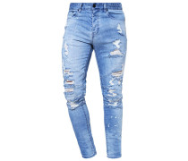 Jeans Tapered Fit distressed light blue/white