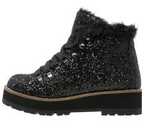 Plateaustiefelette glitter black
