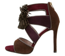 YUNO High Heel Sandaletten brown/purpura wine