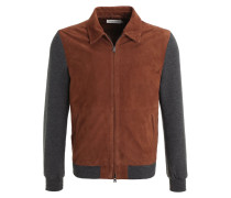 Lederjacke brown/grey melange