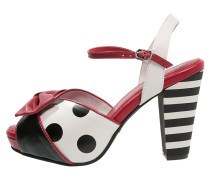 ANGIE - Plateausandalette - cream/black/red