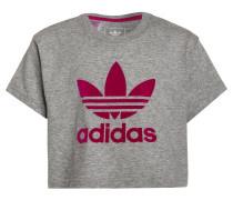 T-Shirt print - medium grey heather/bold pink