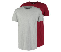 2 PACK TShirt basic burgundy/grey