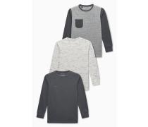 3 PACK Langarmshirt grey