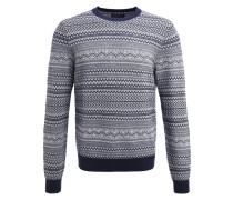 Strickpullover - dark blue/offwhite
