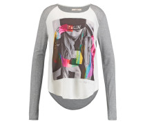 Langarmshirt light gray melange/white