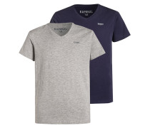 GRIF 2 PACK TShirt basic navy/grey melanged