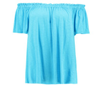 SHIRRING BARDOT - T-Shirt print - turquoise