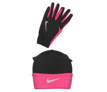 RUNNING SET Fingerhandschuh black/vivid pink