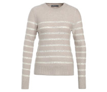 STRIPE PERFECT CREW - Strickpullover - neutral/gold
