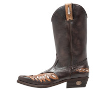 Cowboy/ Bikerboot antic rugat marron/seda blanco