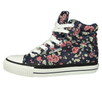 Sneaker high navy pink flower