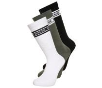 3 PACK Socken black/white/kaki