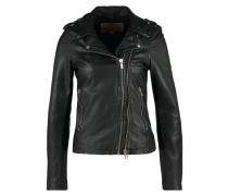 Lederjacke washed black