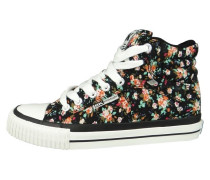 Sneaker high black red flower