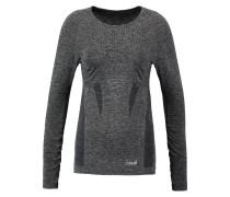 Langarmshirt dark grey melange metallic