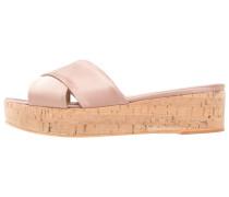 Pantolette flach - augero naturale/raso rosa