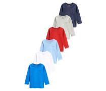 6 PACK Langarmshirt blue
