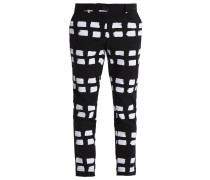 NEW MOKI Stoffhose black/white