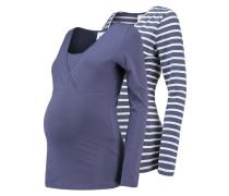 MLLEA 2PACK Langarmshirt vintage indigo/snow white