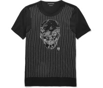 Slim-fit Skull-embroidered Cotton T-shirt