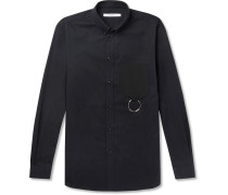 Cuban-fit Button-down Collar Embellished Cotton-twill Shirt