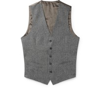 Slim-Fit Prince of Wales Checked Wool and Satin Waistcoat