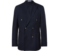 Blue Slim-fit Double-breasted Wool-hopsack Blazer