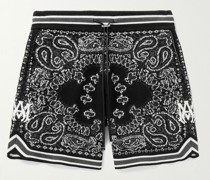 Wide-Leg Bandana Crocheted Cotton-Blend Drawstring Shorts