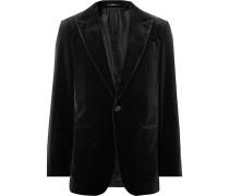 Black Cotton-velvet Blazer
