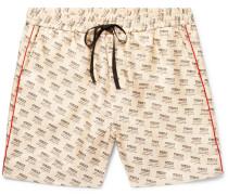 Slim-fit Piped Logo-print Silk-twill Shorts