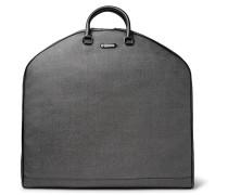 Leather-trimmed Herringbone Coated-canvas Garment Bag
