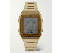Q Timex Reissue LCA 32.5mm Gold-Tone Digital Watch