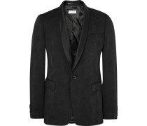 Black Slim-fit Wool-blend Jacquard Tuxedo Jacket