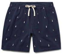Lighthouse Embroidered Loopback Cotton-jersey Shorts