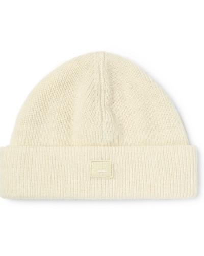 Ribbed Wool-blend Beanie - White