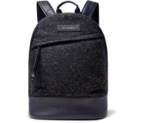 Kastrup Leather-trimmed Mélange Flannel Backpack