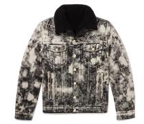 Faux Shearling-lined Acid-washed Denim Jacket