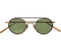 Round-frame Tortoiseshell Acetate And Bronze-tone Sunglasses
