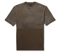 Two-tone Distressed Cotton-jersey T-shirt