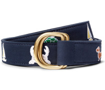 3cm Leather-trimmed Embroidered Cotton Belt