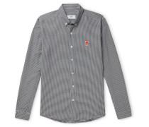 Slim-Fit Button-Down Collar Logo-Appliquéd Checked Cotton Shirt